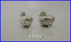 Vintage Novelty Solid Silver Duck Salt And Pepper Pots Tiffany 1990