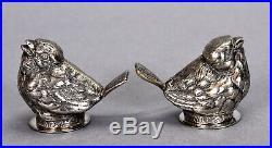 Vintage Pair Sterling Silver Salt & Pepper Shakers Sparrow Bird Motif 1.82 ozt