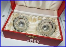 Vintage Salt and Pepper Shakers Sterling Silver Meka Denmark Enamel Glass 2