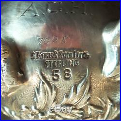Vintage Set/4 S. Kirk & Son Repousse Sterling Silver Salt & Pepper Shakers