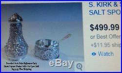 Vintage Solid STERLING SILVER S. Kirk & Son REPOUSSE Salt & Pepper Shaker Set NR