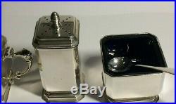 Vintage Solid Silver Cruet Set & Spoons, Birmingham 1960, 144.20. Grams