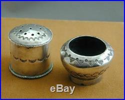 Vintage Sterling Navajo Open Salt & Pepper Shaker Stamped