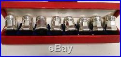 Vintage Sterling Silver Cartier Individual Salt & Pepper Shaker Set Original Box