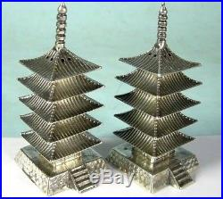 Vintage Sterling Silver Chinese Pagoda Temple Salt & Pepper Shakers