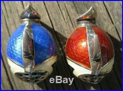 Vintage Sterling Silver Guilloche Enamel FISH SALT & PEPPER Shakers Denmark