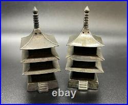 Vintage Sterling Silver Pagoda Salt & Pepper Shakers