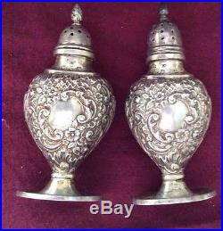 Vintage Sterling Silver Repousse English Salt and Pepper Shakers 1899