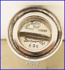 Vintage Sterling Silver Set Of 7 Georg Jensen Bernadotte Salt Pepper Shakers