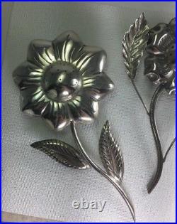 Vintage TANE Sterling Silver Flowers Salt & Pepper Shakers Set Size 4.00