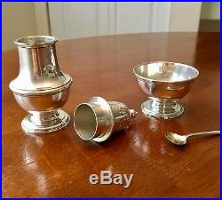 Vintage Tiffany & Co. Sterling Silver Salt Cellar with Spoon and Pepper Shaker