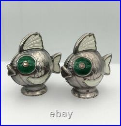 Vtg Meka Modernist Denmark Sterling Silver Enamel FISH Salt & Pepper Shakers