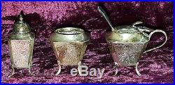 Wai Kee Chinese silver vintage Art Deco antique cruet set