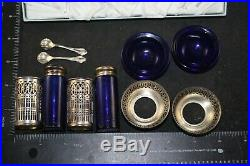 Webster Filigree Sterling Silver Salt Pepper Shaker Bowl Spoon Cobalt Blue Glass