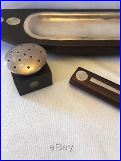 William Spratling Vintage Rosewood & Sterling Silver Dot Salt & Pepper Shakers +