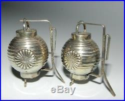 Yamato Japanese 950 Silver Lantern Chochin Salt and Pepper Shakers